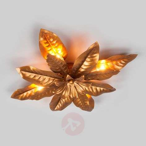 Metal ceiling light Fleuria, antique gold