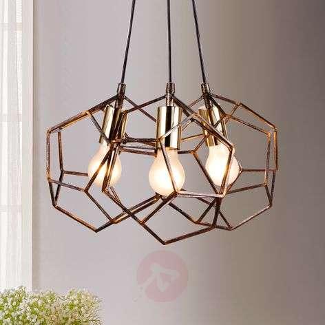 Metal pendant light Lorenza, rust-coloured