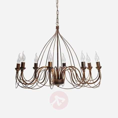 Metal Thida chandelier, antique gold, eight-bulb