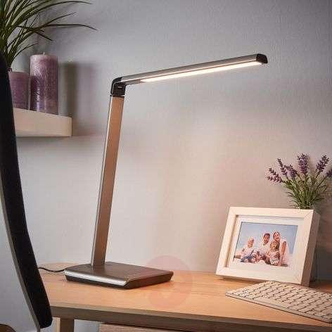 Metallic grey LED table lamp Kuno with dimmer, USB-9643036-32