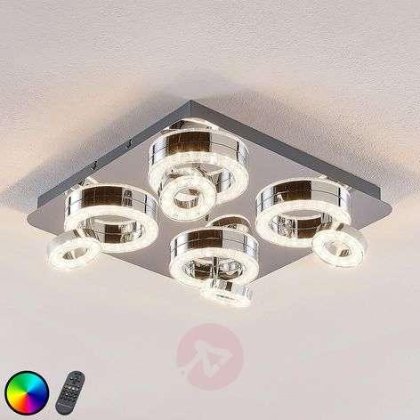 Mikkel LED ceiling light, RGBW, 40 x 40 cm