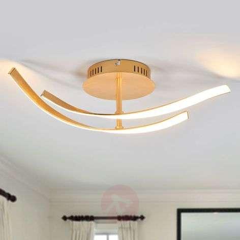 Milane golden LED ceiling light, two-bulb