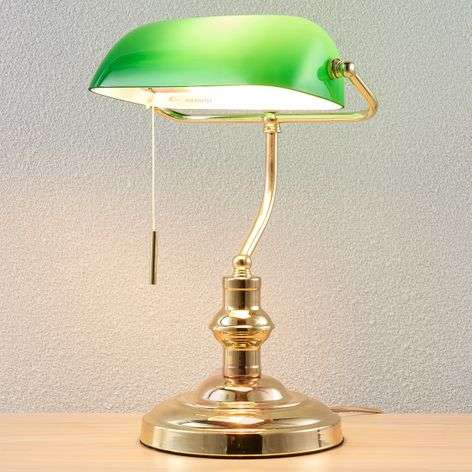 Milenka bankers lamp, polished brass