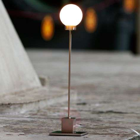 Minimalist table lamp Snowball, metallic
