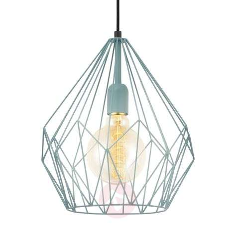 Mint-coloured vintage hanging light Carlton