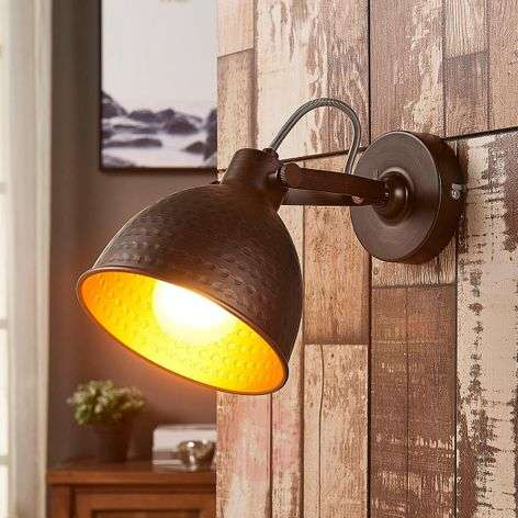 Mirielle - brown wall light, orange interior
