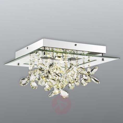 Mirrored LED ceiling lamp Gese w. crystals