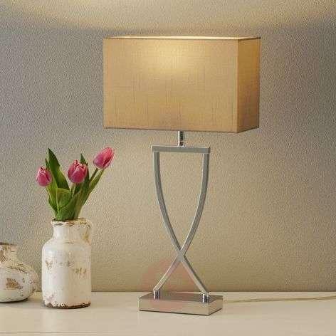 Modern fabric table lamp Anni chrome-cappuccino
