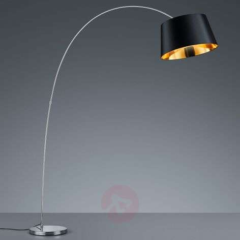 Modern Linz arc floor lamp with a fabric lampshade