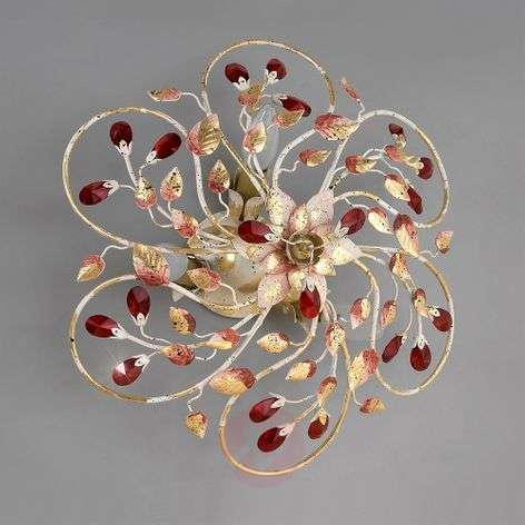 NADJA ceiling light with crimson crystals