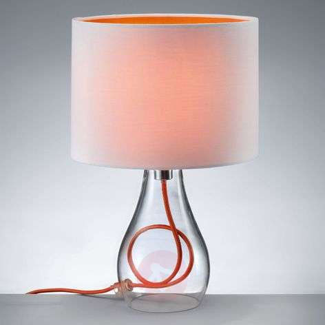 Naila table lamp with a white-orange lampshade