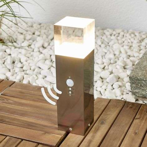 Nerius stainless steel LED pillar light, sensor