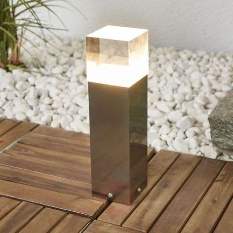 Nerius stainless steel pillar lamp with LEDs