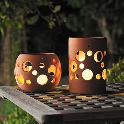 NEW GENOVA LED solar light, cylinder, terracotta