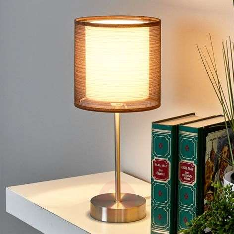 Nica bedside table lamp with brown fabric shade-4018012-32