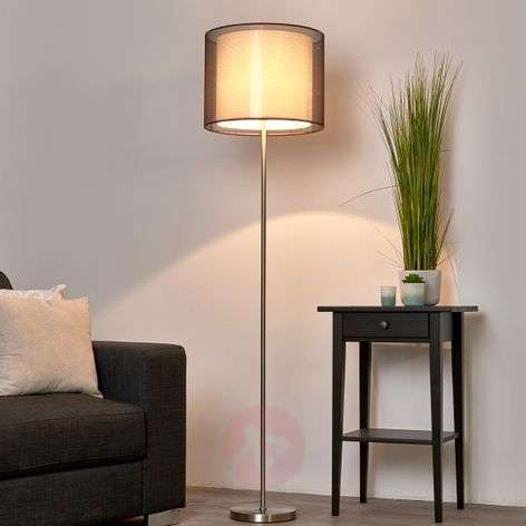 Nica - Floor lamp with fabric shade in brown