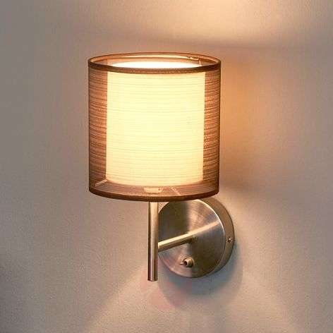 Nica wall lamp with fabric shade in brown