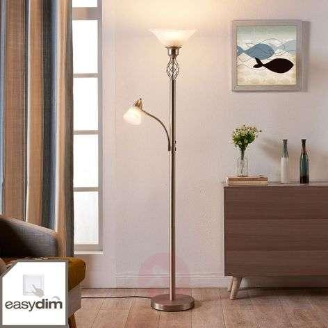 Nickel-coloured LED floor lamp Dunja, reading lamp