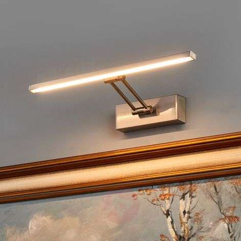 Nickel-coloured LED picture light Emilias