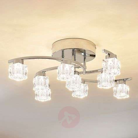 Nine-bulb LED ceiling light Yaro, dimmable