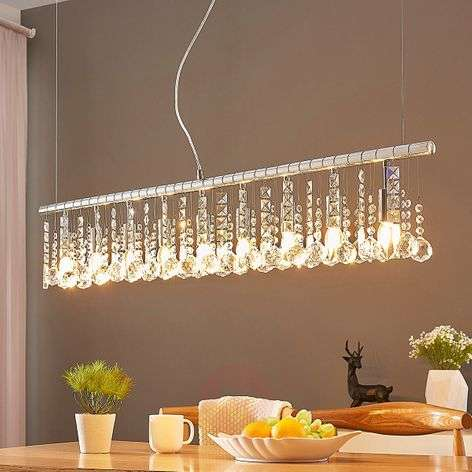 Nine-bulb pendant light Matei, chrome