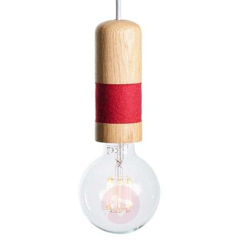 Oak wood pendant light Louise with felt ring