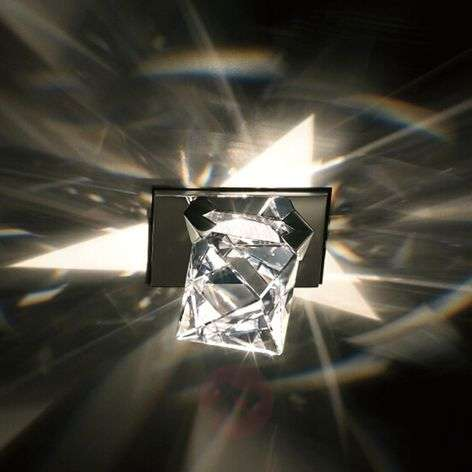 Octa recessed ceiling light w/ octahedron crystal