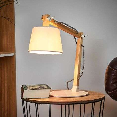 60648db8d163 Olly wood table lamp with white lampshade | Lights.ie