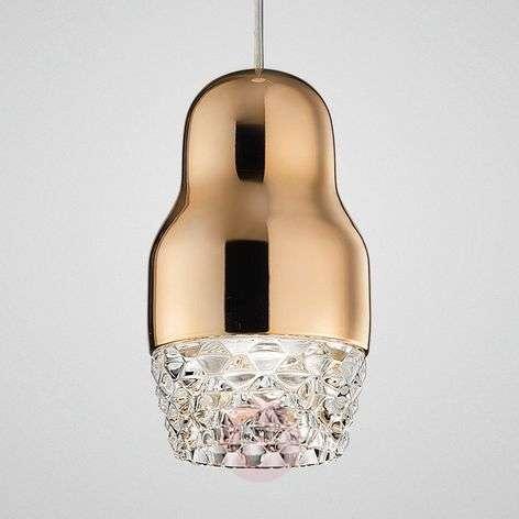 One-bulb LED hanging light Fedora rose gold