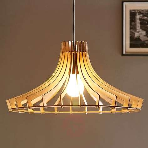 ooden pendant light Bela, Ø 47 cm