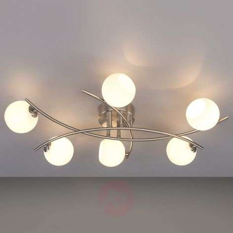 Opal glass ceiling light Muriel for living rooms