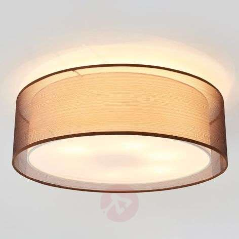 Ophelia ceiling light made of fabric, brown