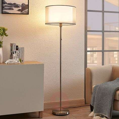 Organza floor lamp Amon with dimmable LEDs, grey