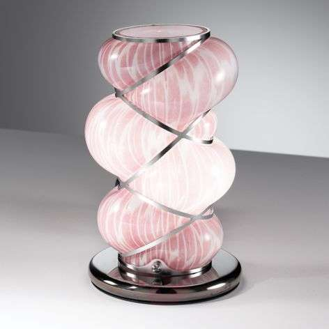 Orione table lamp with stainless steel, pink