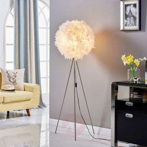 Pauline - tripod floor lamp with feather décor