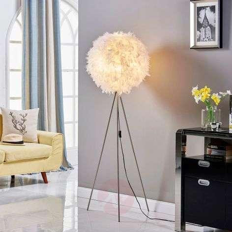 Pauline tripod floor lamp with feather décor-9620975-32