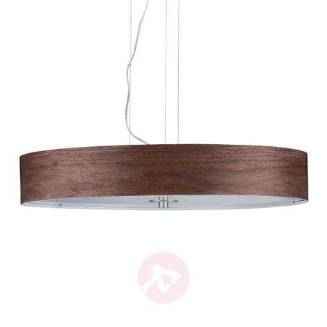 Pendant light Liska, dark brown wooden lampshade