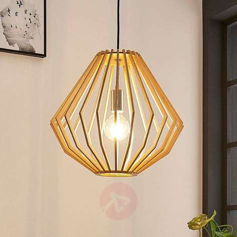 Pendant light Sigge with lampshade of wooden slats