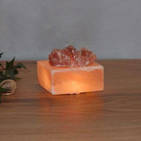 Petite Cube - luminous LED salt crystal bowl