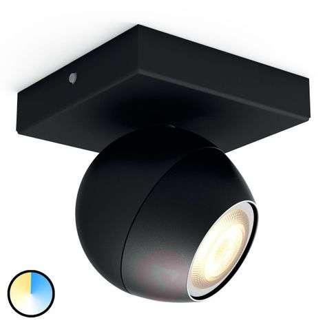 Philips Hue Buckram LED spot in black, dimmer