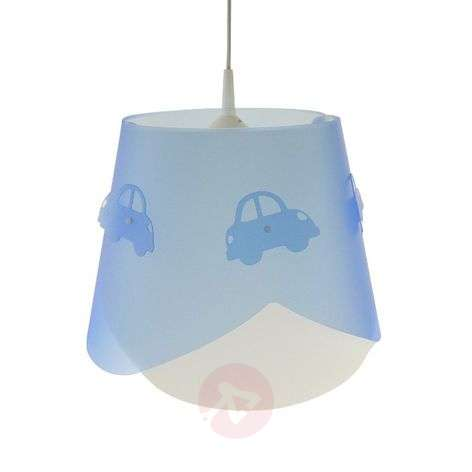 Piet pendant light in blue with a car theme