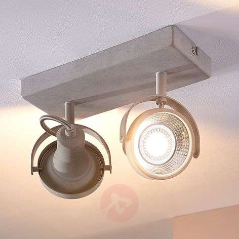 Pieter - 2-bulb LED spotlight, concrete look