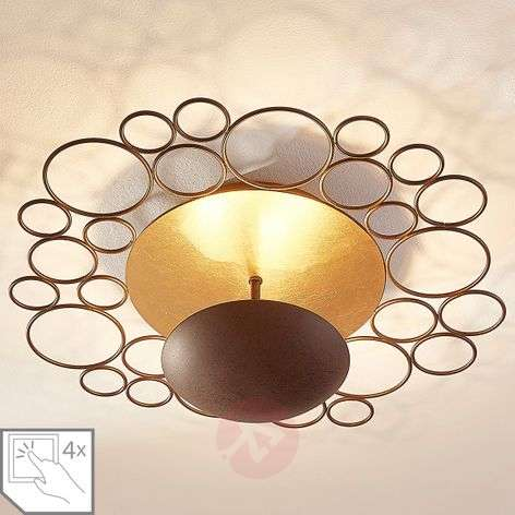 Pinja LED ceiling lamp, rust, with indirect light