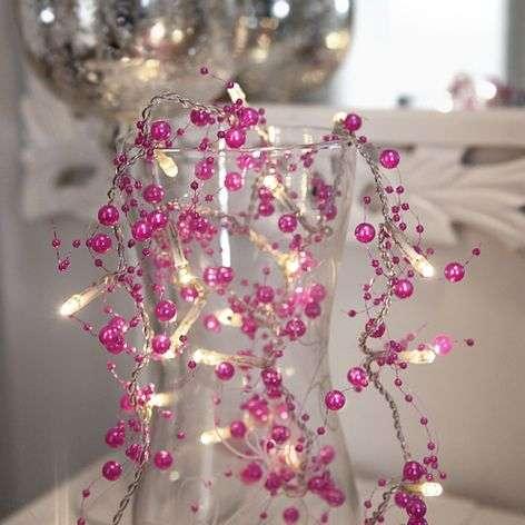 Pink-coloured LED string lights Pärla Garland