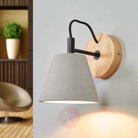 Possio - wall light w. concrete lampshade and wood