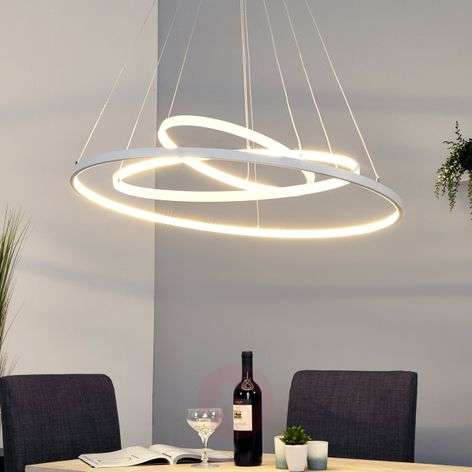 Powerful LED pendant lamp Eline with 3 rings