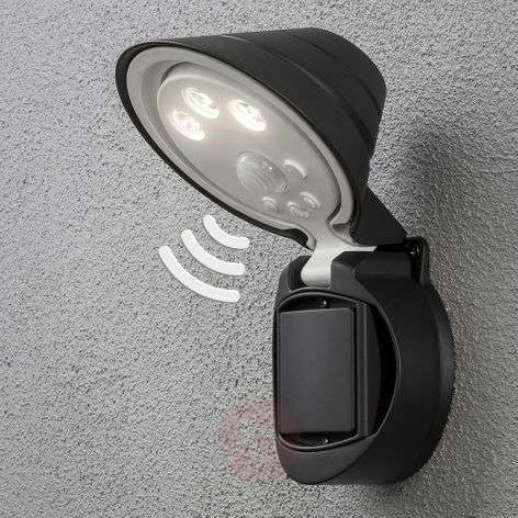 Prato LED outdoor spotlight, battery 16 cm wide