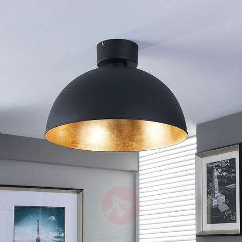 Pretty LED ceiling light in black and gold