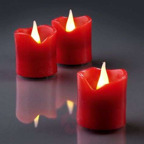 Pretty LED wax candles, set of 6, red, 4cm x 4.2cm