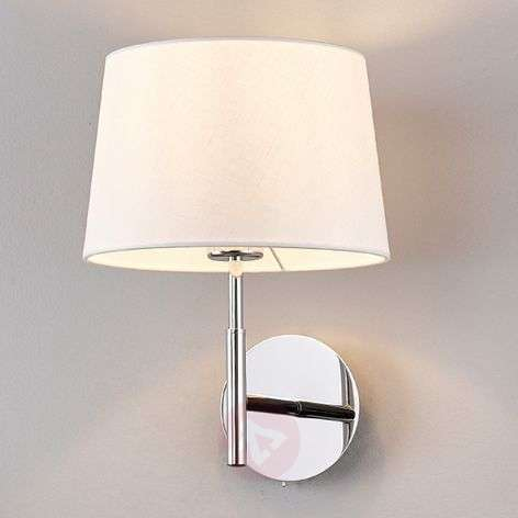 Pretty wall lamp Dorothea with white fabric shade-9976014-31